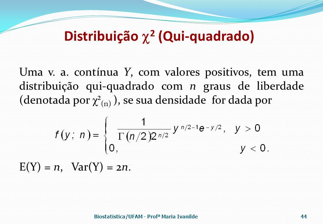 Distribuição  2 (Qui-quadrado) Uma v. a. contínua Y, com valores positivos, tem uma distribuição qui-quadrado com n graus de liberdade (denotada por