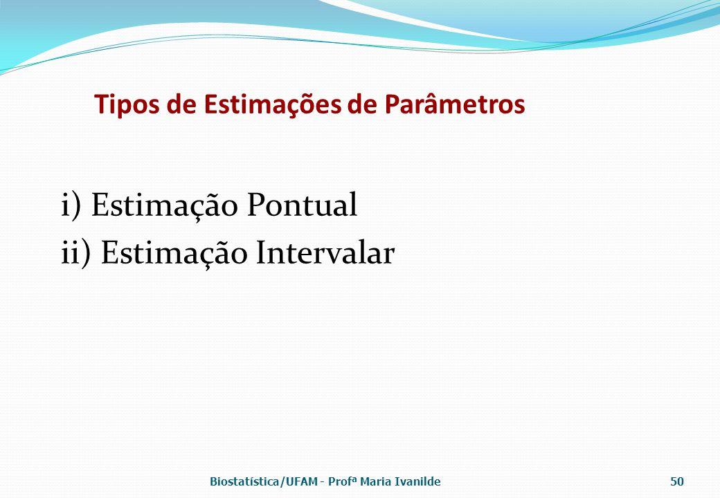 Tipos de Estimações de Parâmetros i) Estimação Pontual ii) Estimação Intervalar Biostatística/UFAM - Profª Maria Ivanilde50