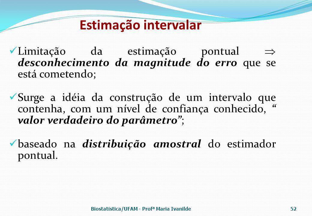 Estimação intervalar Limitação da estimação pontual  desconhecimento da magnitude do erro que se está cometendo; Surge a idéia da construção de um in