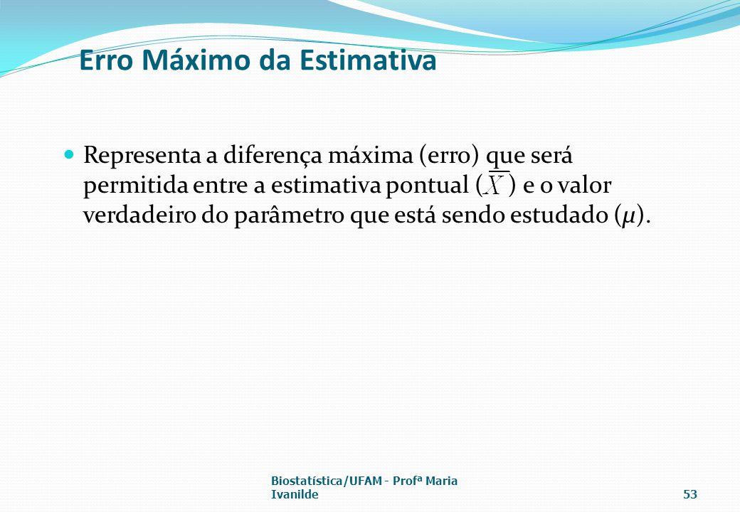 Erro Máximo da Estimativa Representa a diferença máxima (erro) que será permitida entre a estimativa pontual ( ) e o valor verdadeiro do parâmetro que