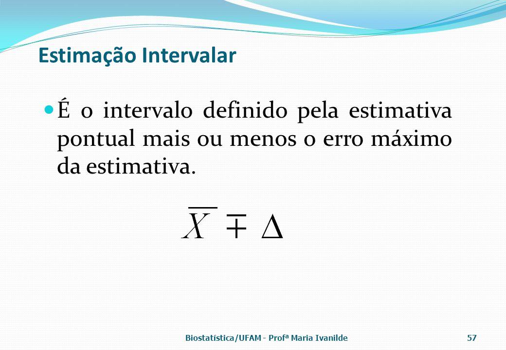 Estimação Intervalar É o intervalo definido pela estimativa pontual mais ou menos o erro máximo da estimativa. Biostatística/UFAM - Profª Maria Ivanil