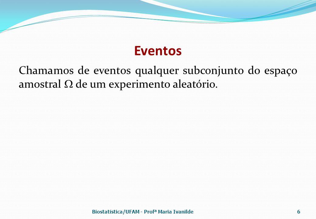 Eventos Chamamos de eventos qualquer subconjunto do espaço amostral  de um experimento aleatório. Biostatística/UFAM - Profª Maria Ivanilde6