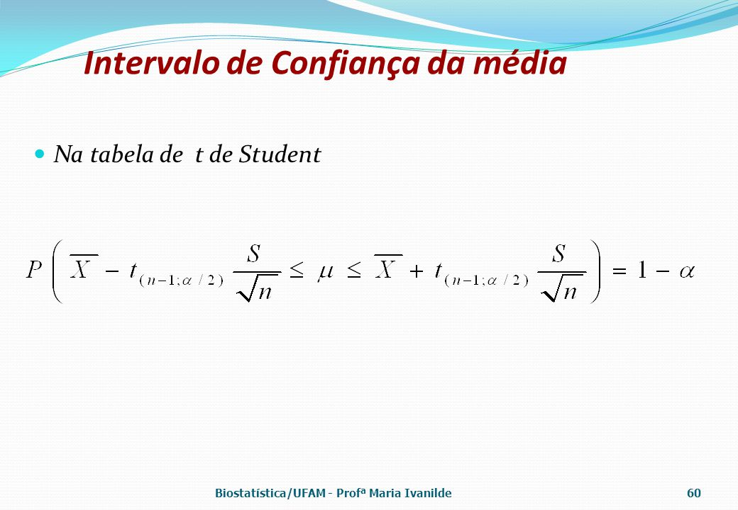 Intervalo de Confiança da média Na tabela de t de Student Biostatística/UFAM - Profª Maria Ivanilde60