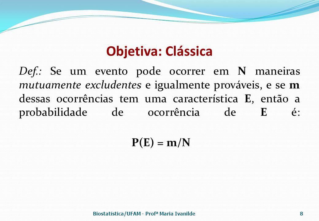 Freqüência relativa Def.: Se algum processo é repetido um grande número de vezes, n, e se algum evento com característica E ocorre m vezes, a freqüência relativa m/n é aproximadamente igual à probabilidade de E: P(E) Obs.: m/n é apenas uma estimativa de P(E).