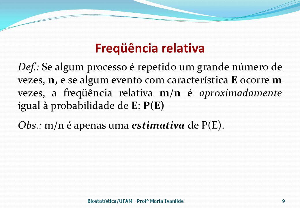 Freqüência relativa Def.: Se algum processo é repetido um grande número de vezes, n, e se algum evento com característica E ocorre m vezes, a freqüênc