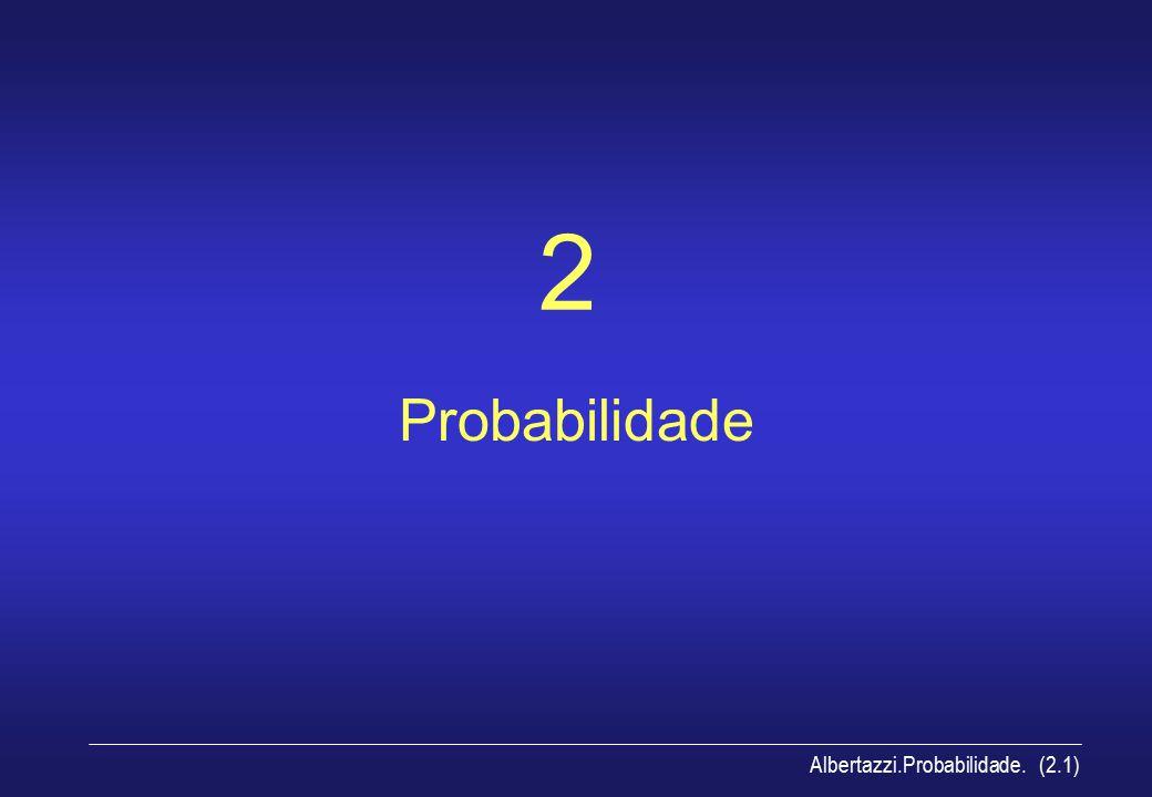 Albertazzi.Probabilidade.espaço amostral (2.2) espaço amostral Conjunto de todos os valores possíveis de um experimento (todos os valores que a amostra pode assumir) –exemplos: { a, e, i, o, u } –pode ser finito ou infinito –pode ser discreto ou contínuo