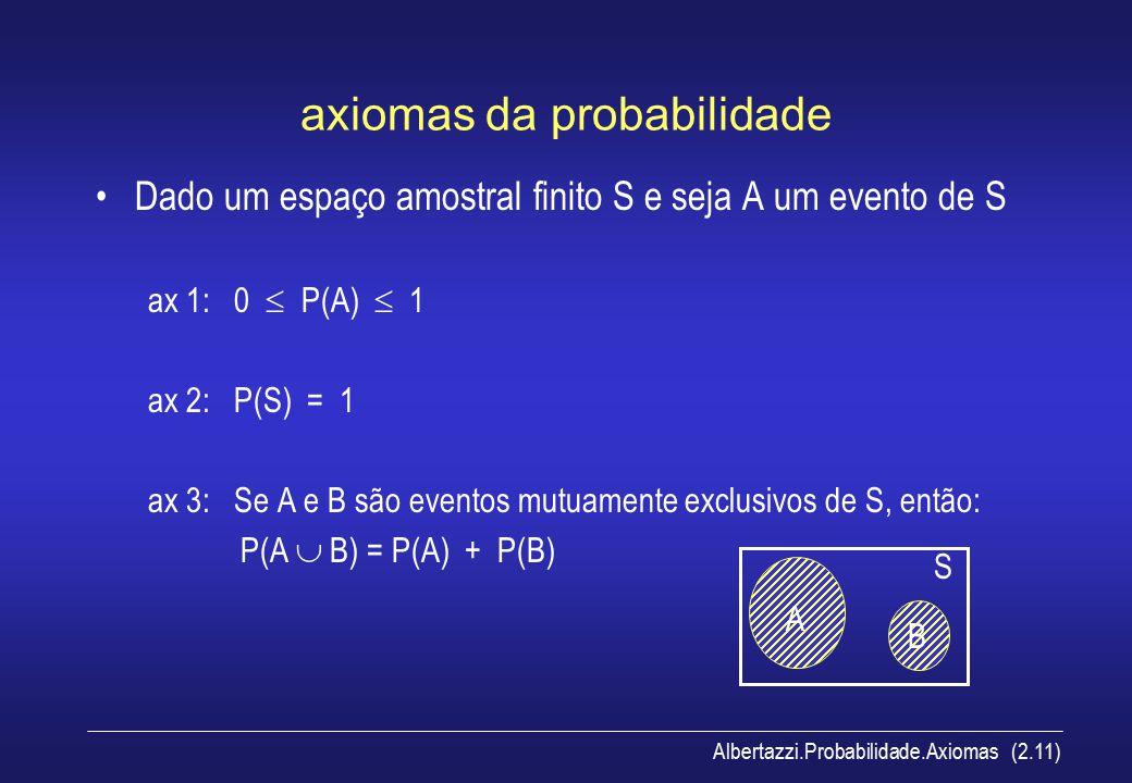 Albertazzi.Probabilidade.Axiomas (2.11) axiomas da probabilidade Dado um espaço amostral finito S e seja A um evento de S ax 1: 0  P(A)  1 ax 2: P(S