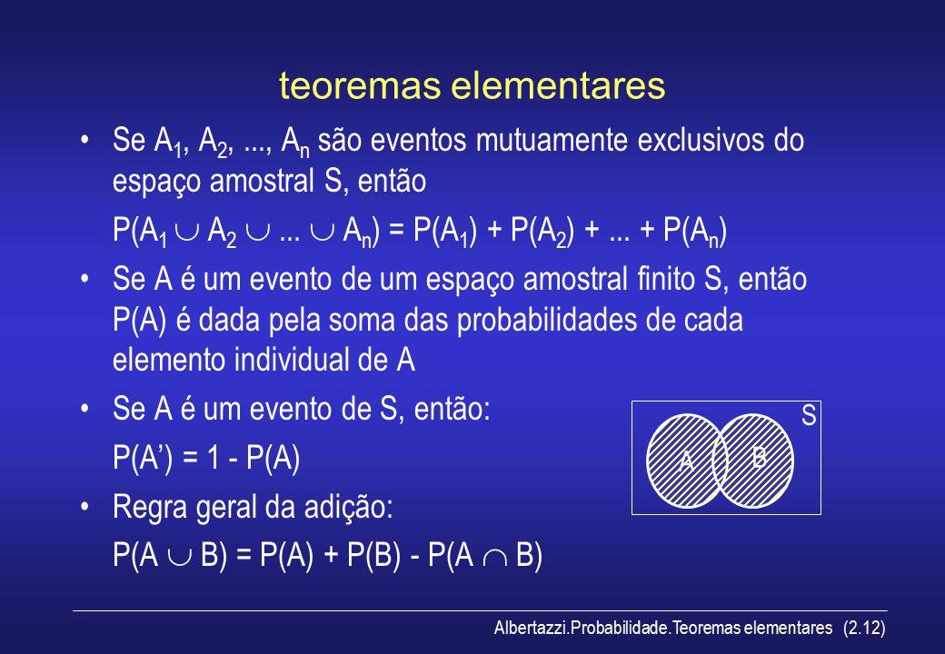 Albertazzi.Probabilidade.Teoremas elementares (2.12) teoremas elementares Se A 1, A 2,..., A n são eventos mutuamente exclusivos do espaço amostral S,