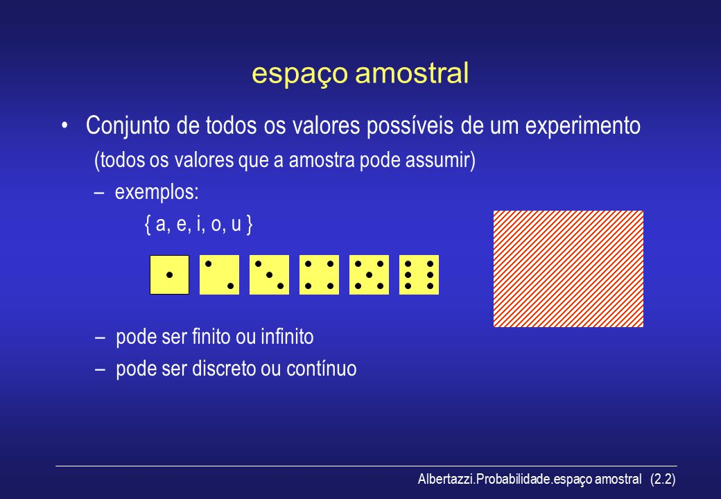 Albertazzi.Probabilidade.eventos (2.3) evento Subconjunto do espaço amostral –exemplos em relação ao espaço amostral { 1, 2, 3, 4, 5 }: C = { 2, 3 }D = { 1, 2, 4 }E= { 1, 5 } C e E são eventos mutuamente exclusivos união: C  D = { 1, 2, 3, 4} interseção: C  D = { 2 } complemento: D' = { 3, 5 }