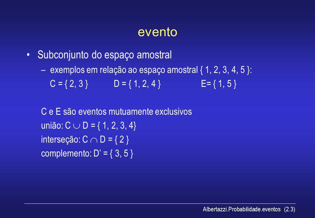 Albertazzi.Probabilidade.eventos (2.3) evento Subconjunto do espaço amostral –exemplos em relação ao espaço amostral { 1, 2, 3, 4, 5 }: C = { 2, 3 }D