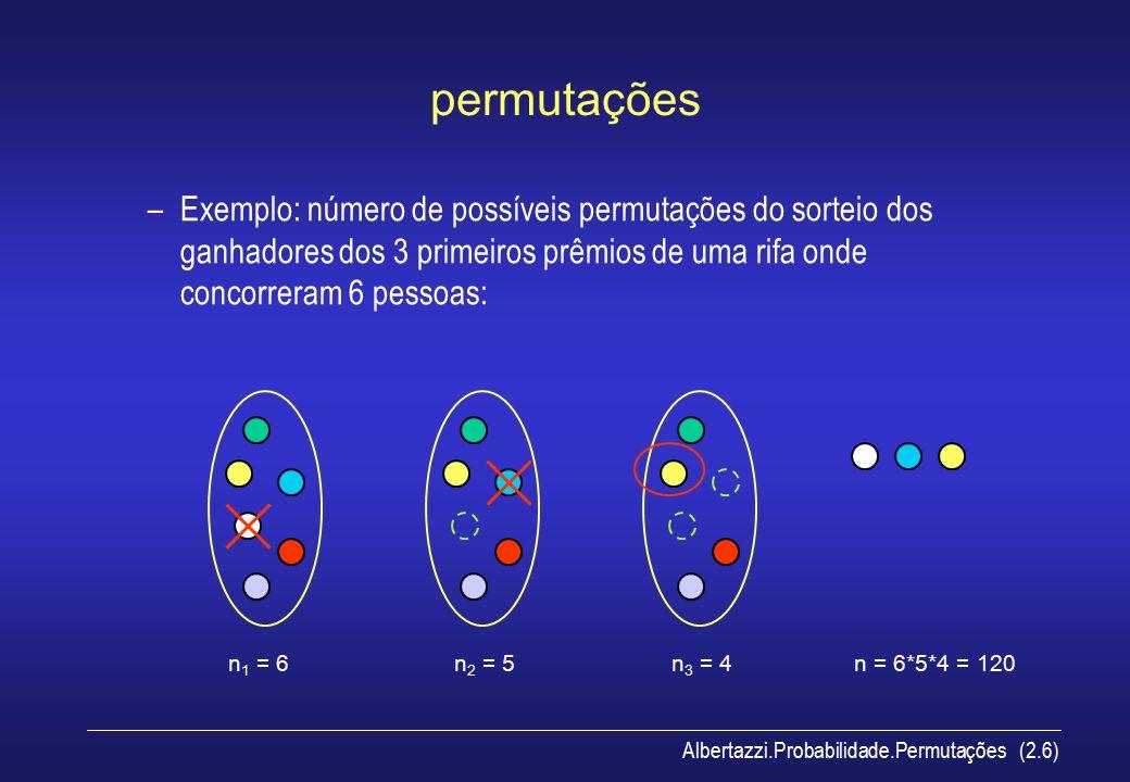 Albertazzi.Probabilidade.Permutações (2.7) permutações Em geral se r objetos são selecionados de um conjunto de n objetos distintos, cada combinação ou ordem destes objetos é denominada de permutação.