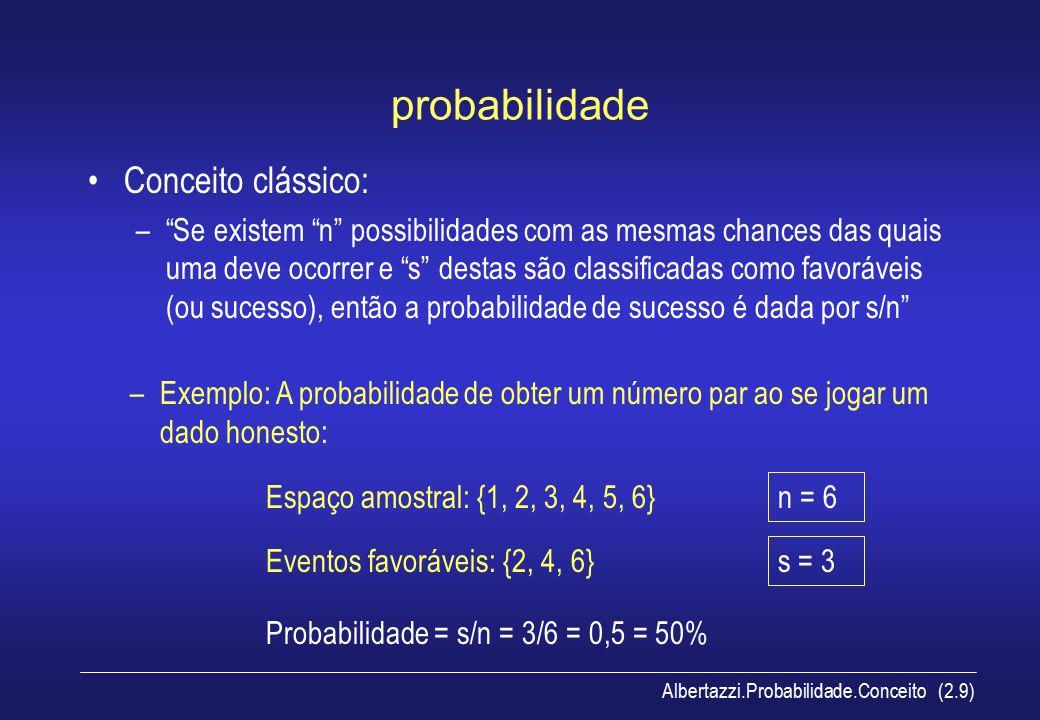 Albertazzi.Probabilidade.Conceito (2.10) probabilidade Interpretação baseada na freqüência: – A probabilidade de um evento ocorrer é a proporção de vezes que este evento ocorreria em uma grande quantidade de experimentos repetidos