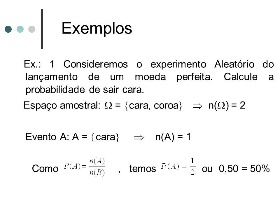 Exemplos Ex.: 1 Consideremos o experimento Aleatório do lançamento de um moeda perfeita. Calcule a probabilidade de sair cara. Espaço amostral:  = 