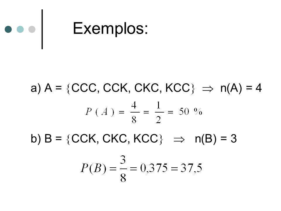 a) A =  CCC, CCK, CKC, KCC   n(A) = 4 b) B =  CCK, CKC, KCC   n(B) = 3 Exemplos: