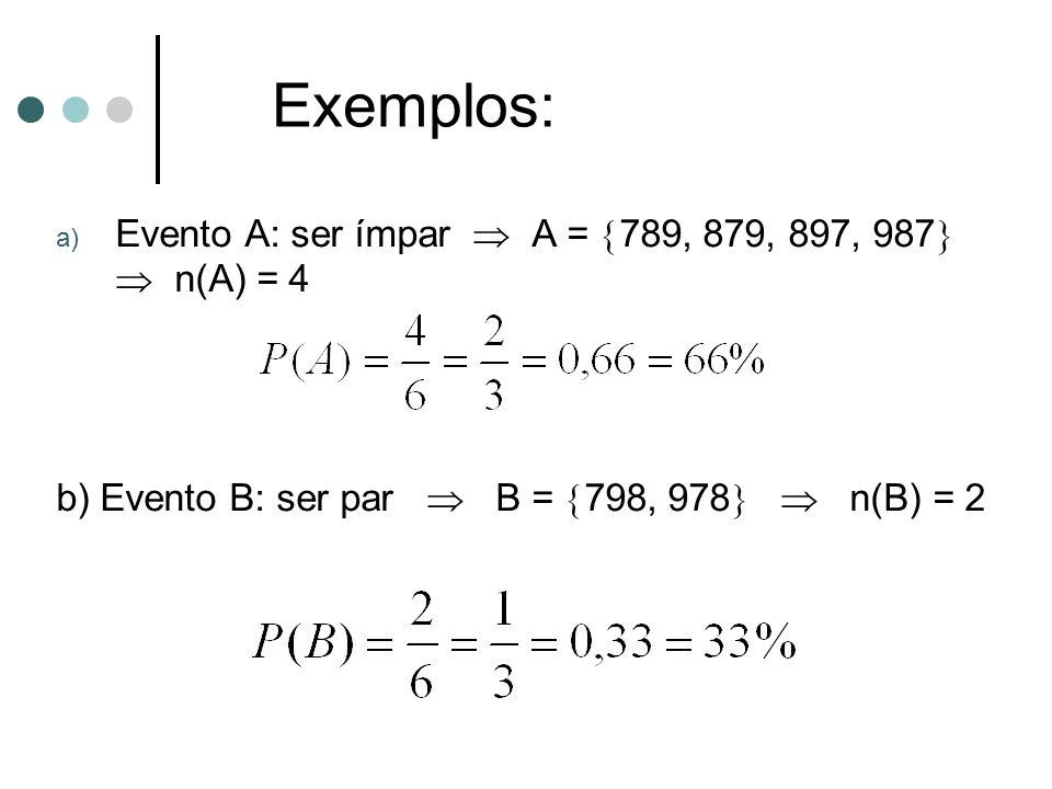a) Evento A: ser ímpar  A =  789, 879, 897, 987   n(A) = 4 b) Evento B: ser par  B =  798, 978   n(B) = 2 Exemplos: