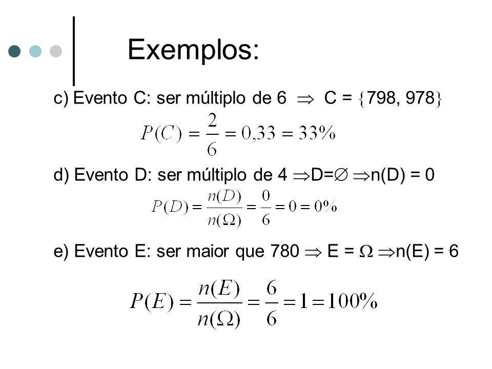 c) Evento C: ser múltiplo de 6  C =  798, 978  d) Evento D: ser múltiplo de 4  D=   n(D) = 0 e) Evento E: ser maior que 780  E =   n(E) = 6 E