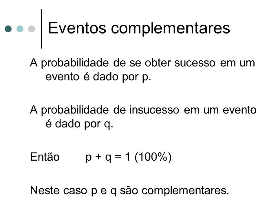 A probabilidade de se obter sucesso em um evento é dado por p. A probabilidade de insucesso em um evento é dado por q. Então p + q = 1 (100%) Neste ca