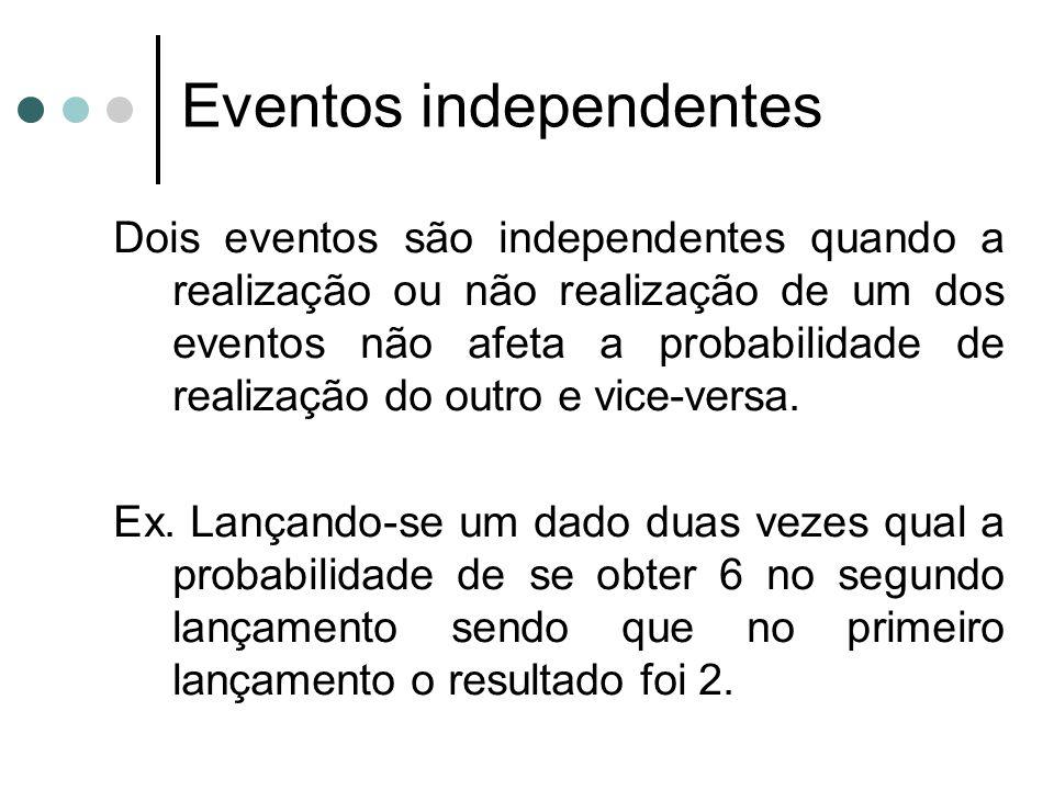 Dois eventos são independentes quando a realização ou não realização de um dos eventos não afeta a probabilidade de realização do outro e vice-versa.