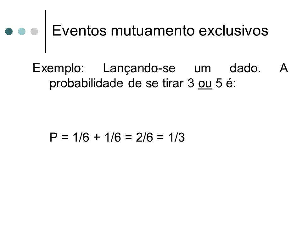 Exemplo: Lançando-se um dado. A probabilidade de se tirar 3 ou 5 é: P = 1/6 + 1/6 = 2/6 = 1/3 Eventos mutuamento exclusivos