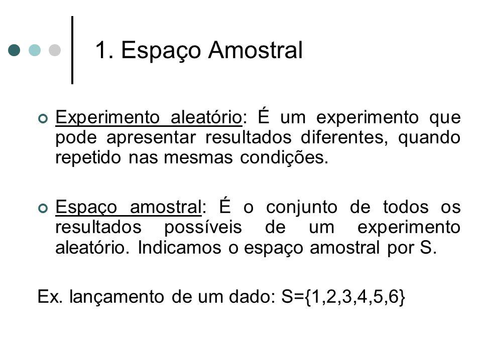 1. Espaço Amostral Experimento aleatório: É um experimento que pode apresentar resultados diferentes, quando repetido nas mesmas condições. Espaço amo