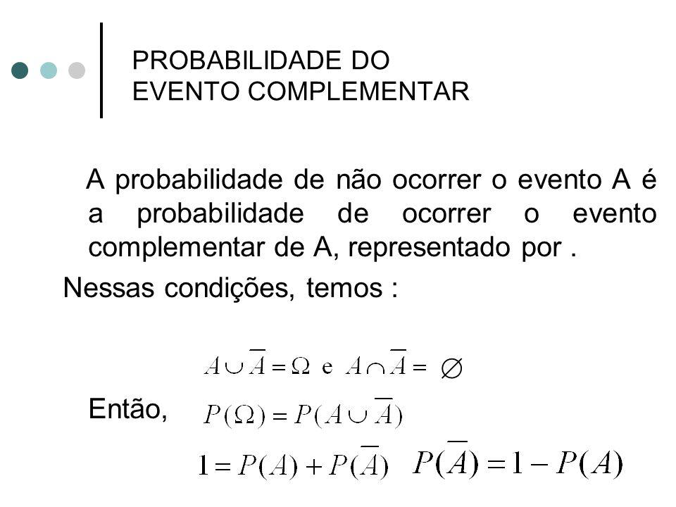 PROBABILIDADE DO EVENTO COMPLEMENTAR A probabilidade de não ocorrer o evento A é a probabilidade de ocorrer o evento complementar de A, representado p