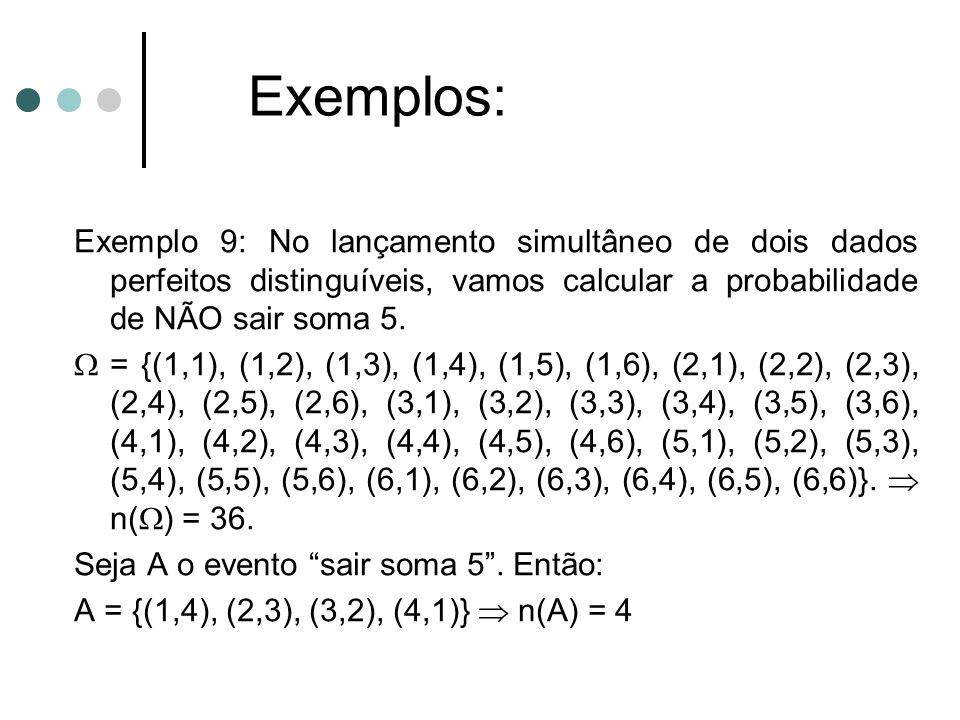 Exemplo 9: No lançamento simultâneo de dois dados perfeitos distinguíveis, vamos calcular a probabilidade de NÃO sair soma 5.  = {(1,1), (1,2), (1,3)