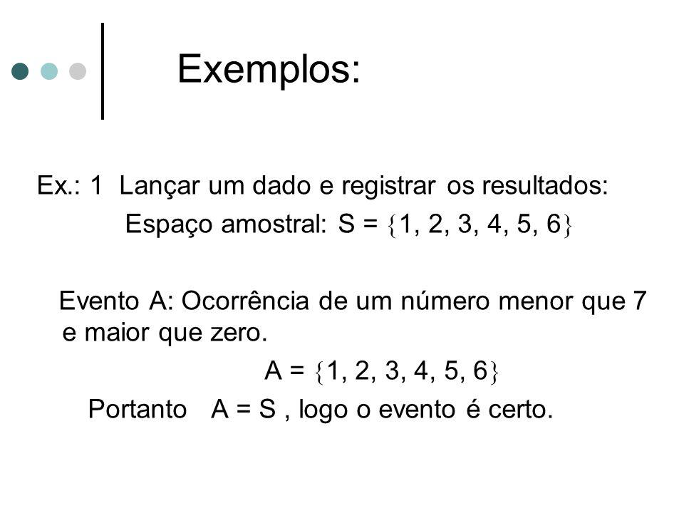 Exemplos: Ex.: 1 Lançar um dado e registrar os resultados: Espaço amostral: S =  1, 2, 3, 4, 5, 6  Evento A: Ocorrência de um número menor que 7 e m