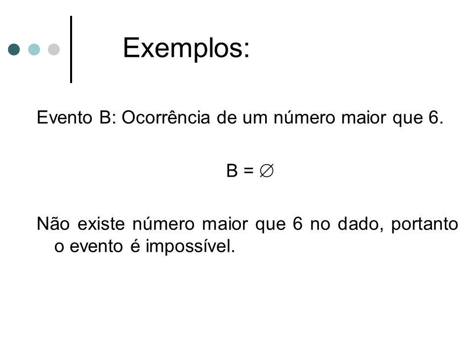 Evento B: Ocorrência de um número maior que 6. B =  Não existe número maior que 6 no dado, portanto o evento é impossível. Exemplos: