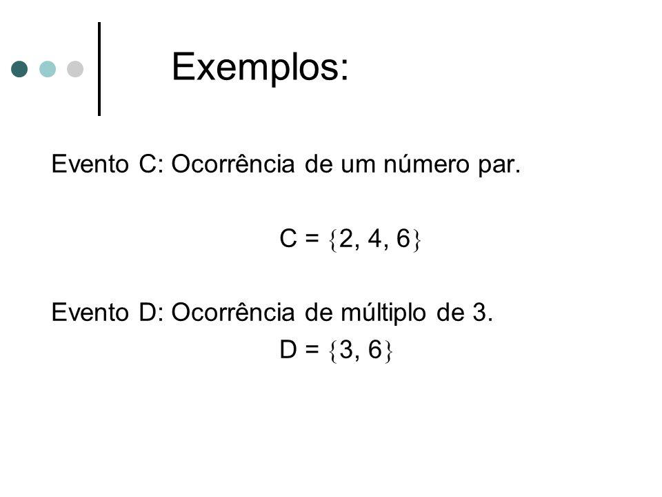 Evento C: Ocorrência de um número par. C =  2, 4, 6  Evento D: Ocorrência de múltiplo de 3. D =  3, 6  Exemplos: