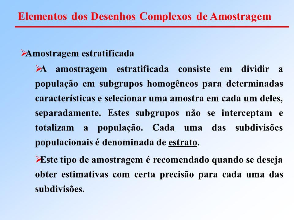  Amostragem estratificada  A amostragem estratificada consiste em dividir a população em subgrupos homogêneos para determinadas características e se