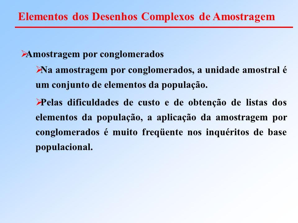  Amostragem por conglomerados  Na amostragem por conglomerados, a unidade amostral é um conjunto de elementos da população.  Pelas dificuldades de