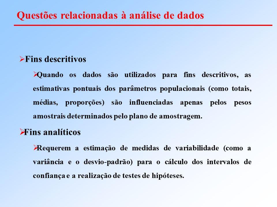  Fins descritivos  Quando os dados são utilizados para fins descritivos, as estimativas pontuais dos parâmetros populacionais (como totais, médias,