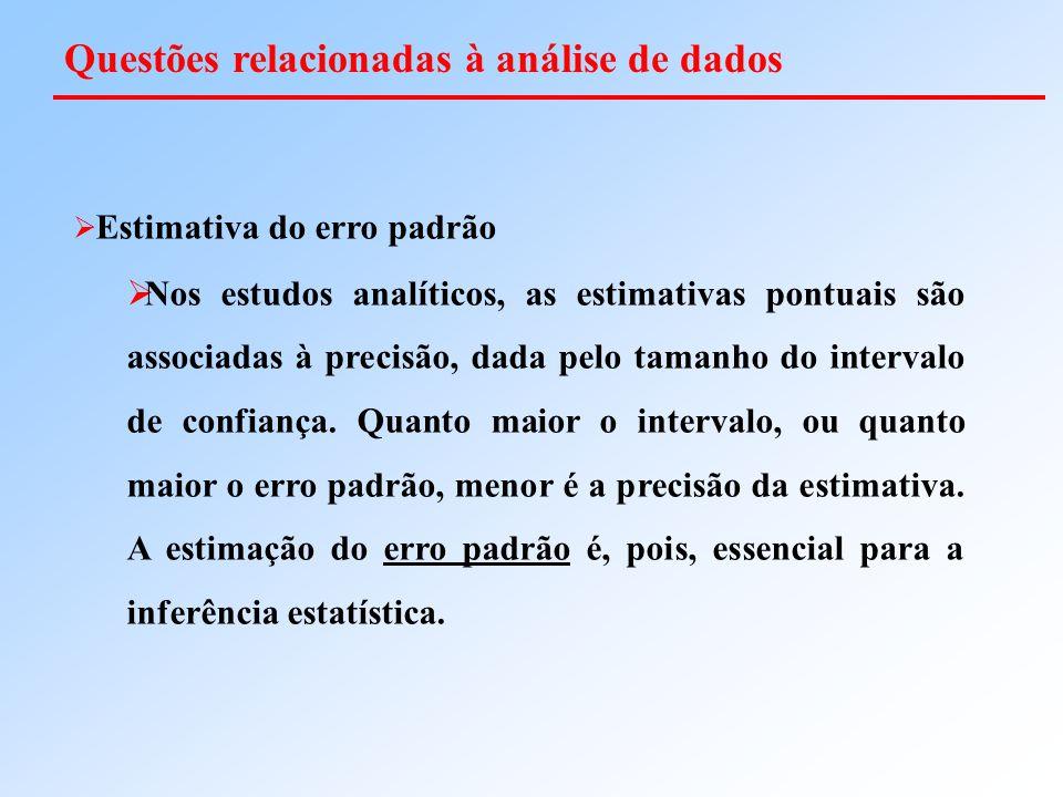  Estimativa do erro padrão  Nos estudos analíticos, as estimativas pontuais são associadas à precisão, dada pelo tamanho do intervalo de confiança.