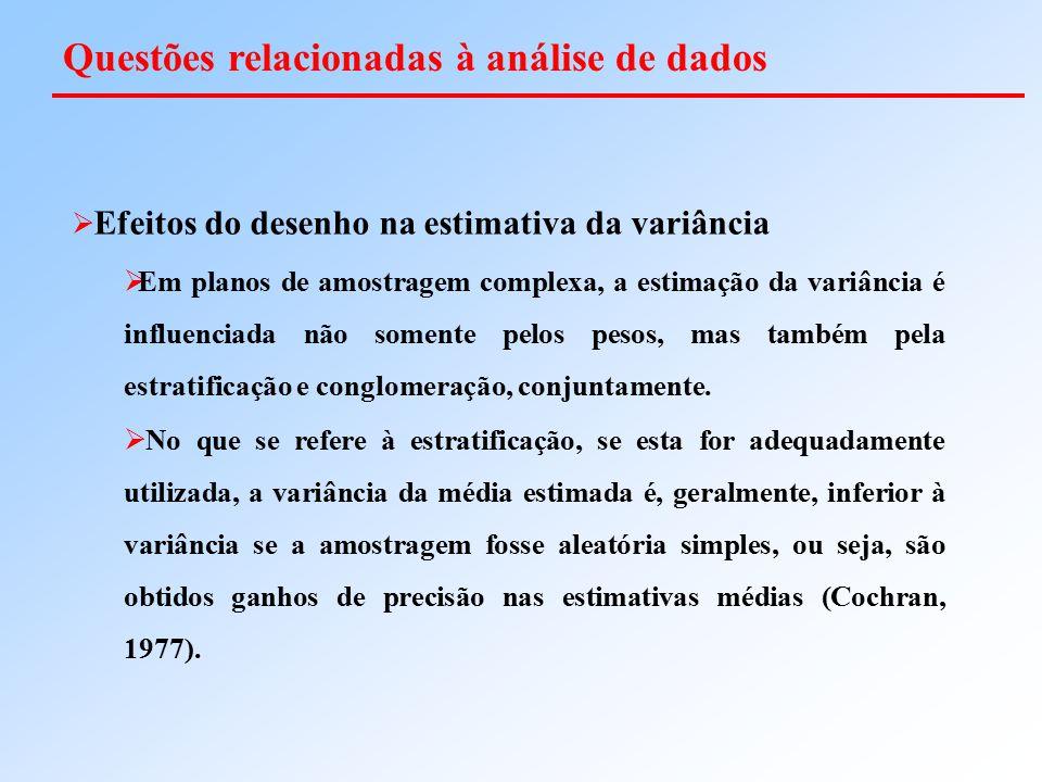  Efeitos do desenho na estimativa da variância  Em planos de amostragem complexa, a estimação da variância é influenciada não somente pelos pesos, m