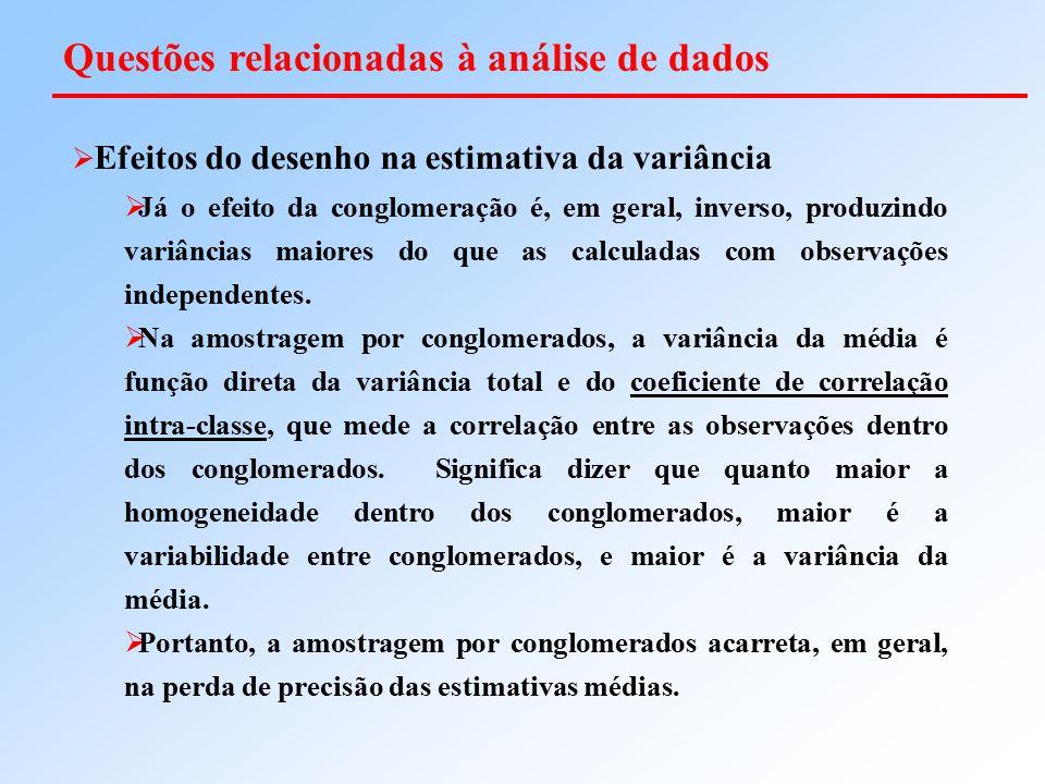  Efeitos do desenho na estimativa da variância  Já o efeito da conglomeração é, em geral, inverso, produzindo variâncias maiores do que as calculada