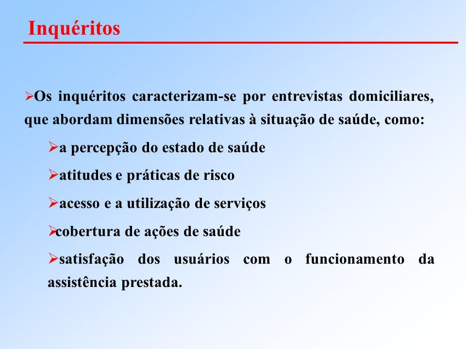  Os inquéritos caracterizam-se por entrevistas domiciliares, que abordam dimensões relativas à situação de saúde, como:  a percepção do estado de sa
