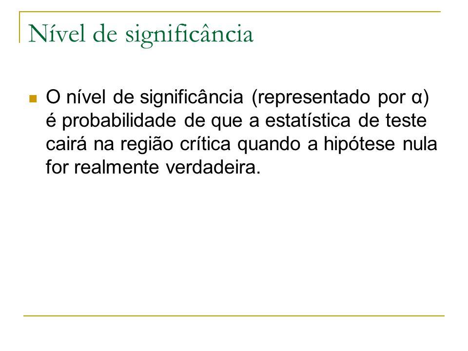 Nível de significância O nível de significância (representado por α) é probabilidade de que a estatística de teste cairá na região crítica quando a hi