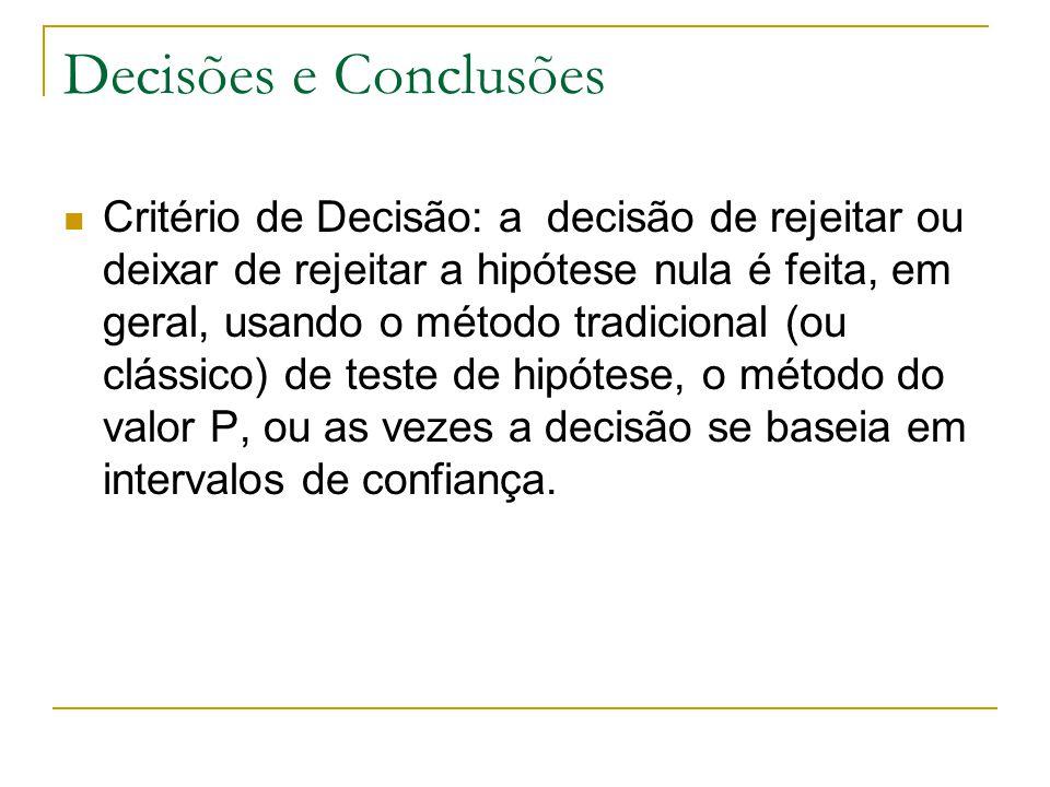 Decisões e Conclusões Critério de Decisão: a decisão de rejeitar ou deixar de rejeitar a hipótese nula é feita, em geral, usando o método tradicional