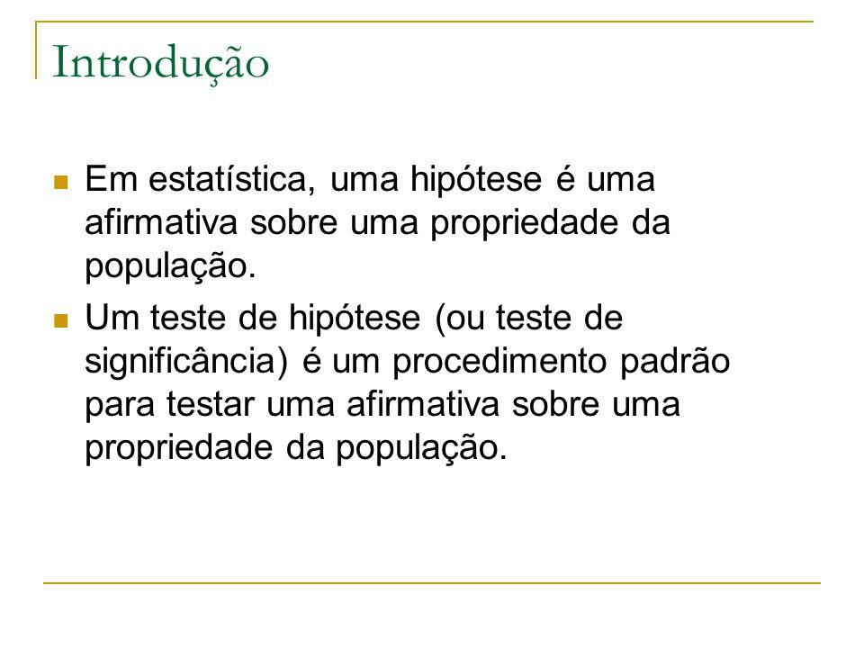 Introdução Em estatística, uma hipótese é uma afirmativa sobre uma propriedade da população. Um teste de hipótese (ou teste de significância) é um pro