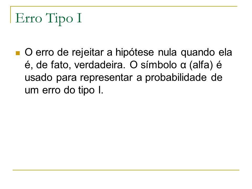 Erro Tipo I O erro de rejeitar a hipótese nula quando ela é, de fato, verdadeira. O símbolo α (alfa) é usado para representar a probabilidade de um er