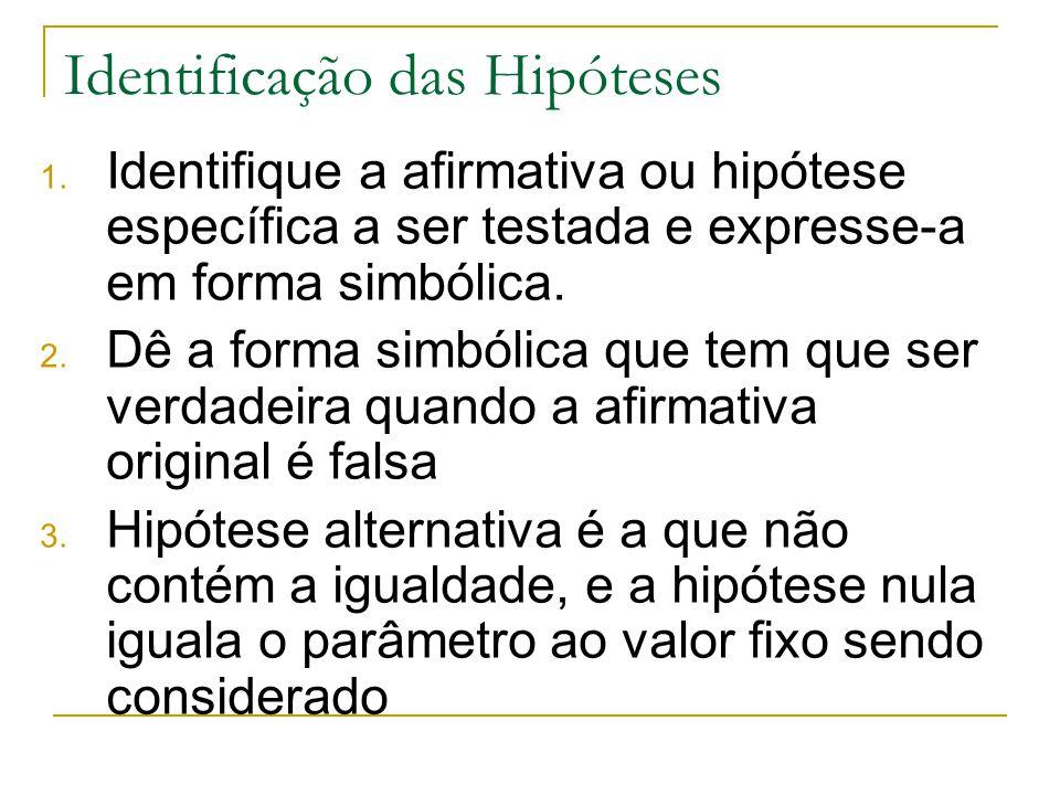 Identificação das Hipóteses 1. Identifique a afirmativa ou hipótese específica a ser testada e expresse-a em forma simbólica. 2. Dê a forma simbólica