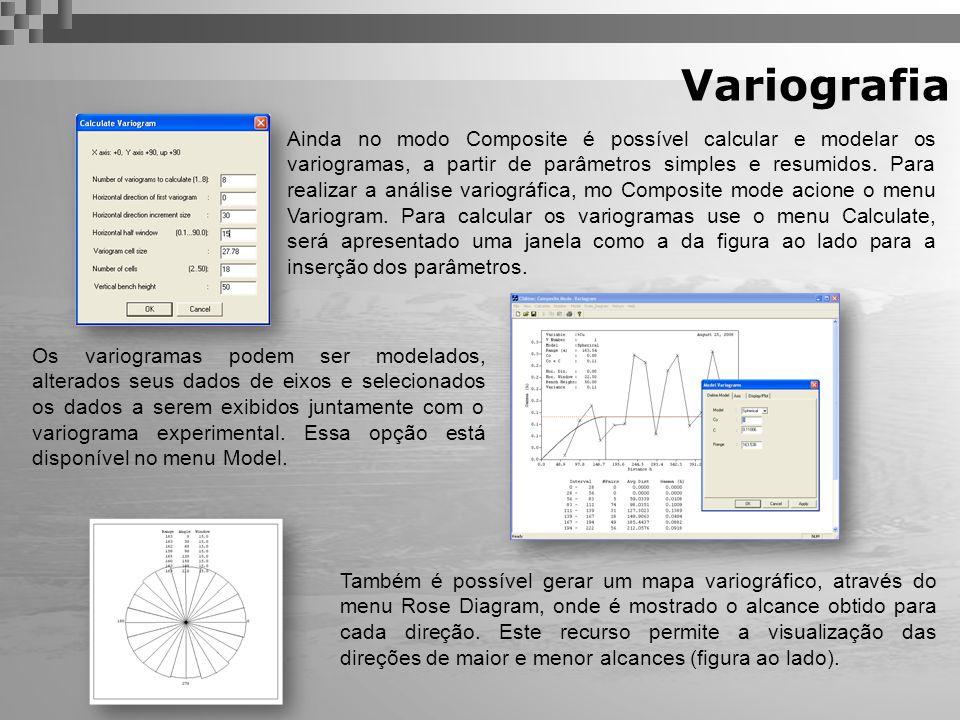 Variografia Também é possível gerar um mapa variográfico, através do menu Rose Diagram, onde é mostrado o alcance obtido para cada direção. Este recur