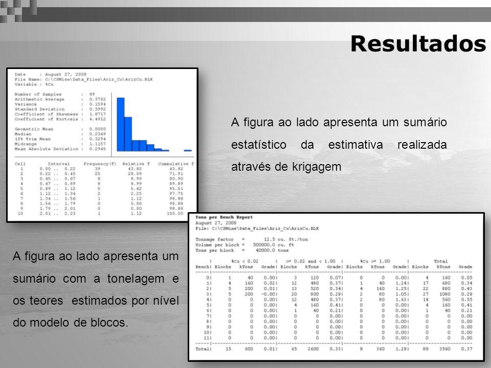 Resultados A figura ao lado apresenta um sumário estatístico da estimativa realizada através de krigagem A figura ao lado apresenta um sumário com a t