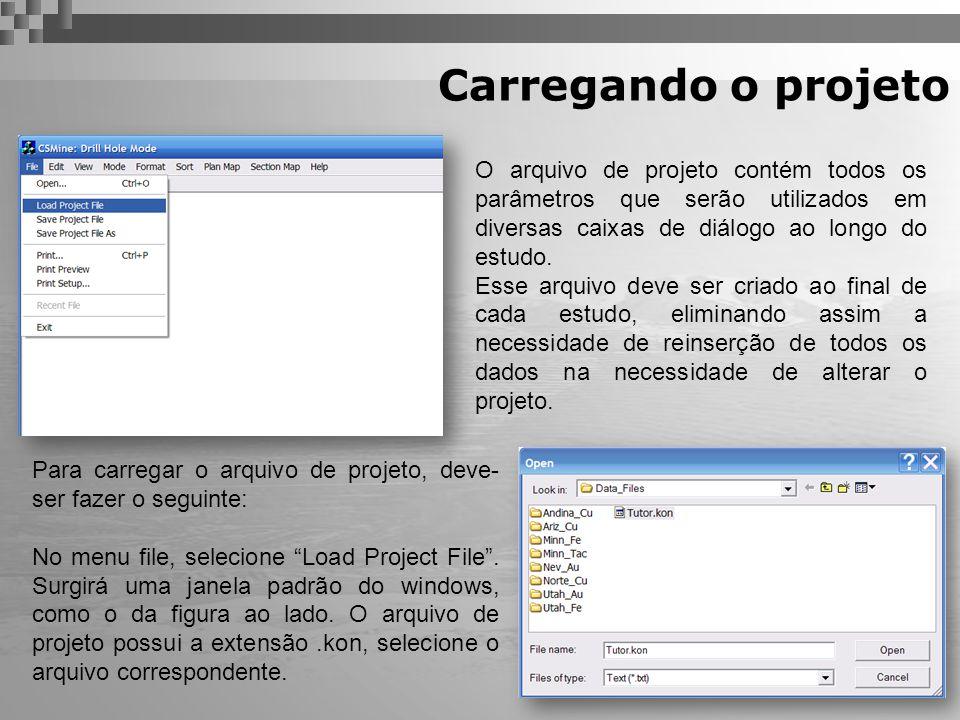 Carregando o projeto O arquivo de projeto contém todos os parâmetros que serão utilizados em diversas caixas de diálogo ao longo do estudo. Esse arqui