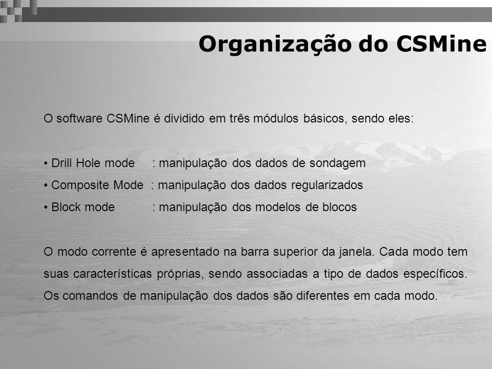 Organização do CSMine O software CSMine é dividido em três módulos básicos, sendo eles: Drill Hole mode : manipulação dos dados de sondagem Composite