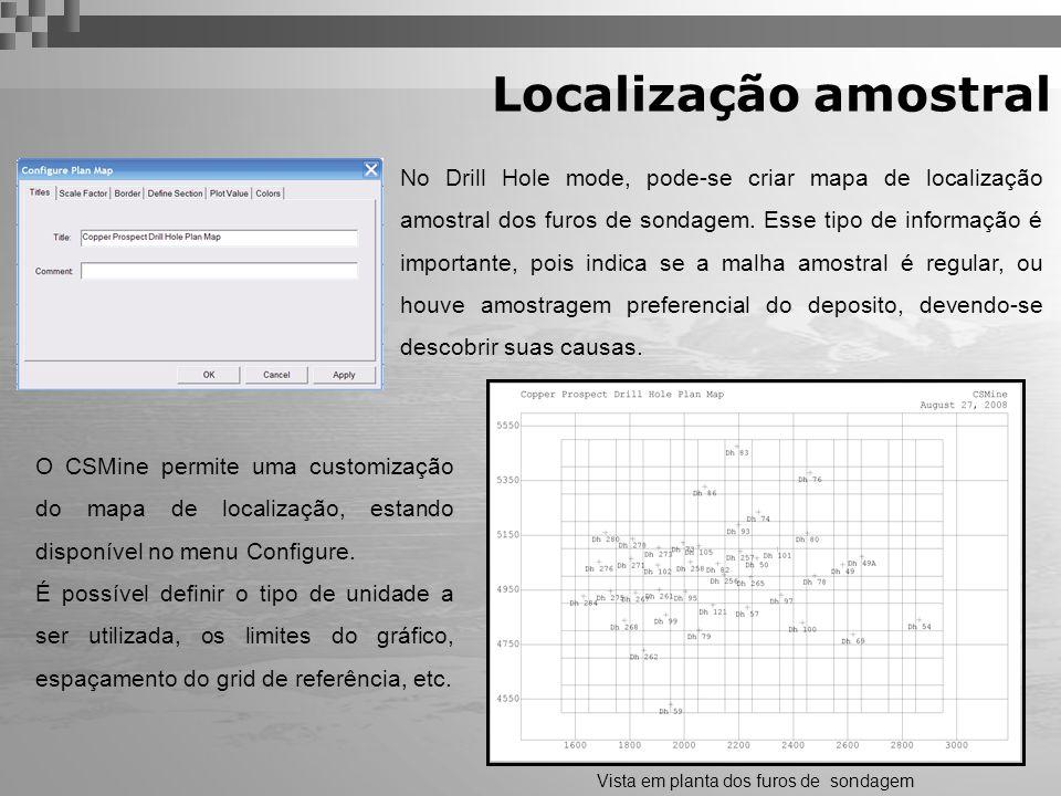 Localização amostral Vista em planta dos furos de sondagem No Drill Hole mode, pode-se criar mapa de localização amostral dos furos de sondagem. Esse
