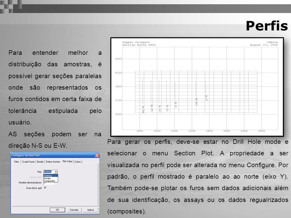 Perfis Para entender melhor a distribuição das amostras, é possível gerar seções paralelas onde são representados os furos contidos em certa faixa de