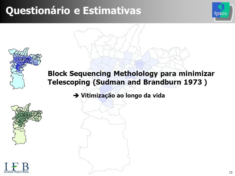 15 Questionário e Estimativas Block Sequencing Metholology para minimizar Telescoping (Sudman and Brandburn 1973 )  Vitimização ao longo da vida