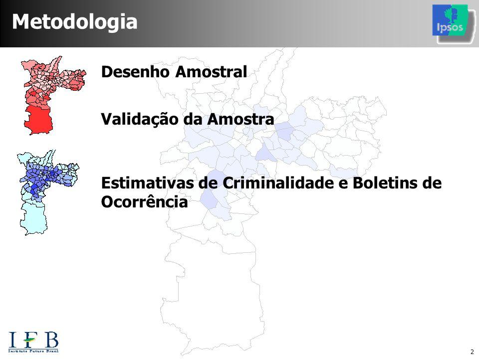 2 Desenho Amostral Estimativas de Criminalidade e Boletins de Ocorrência Validação da Amostra