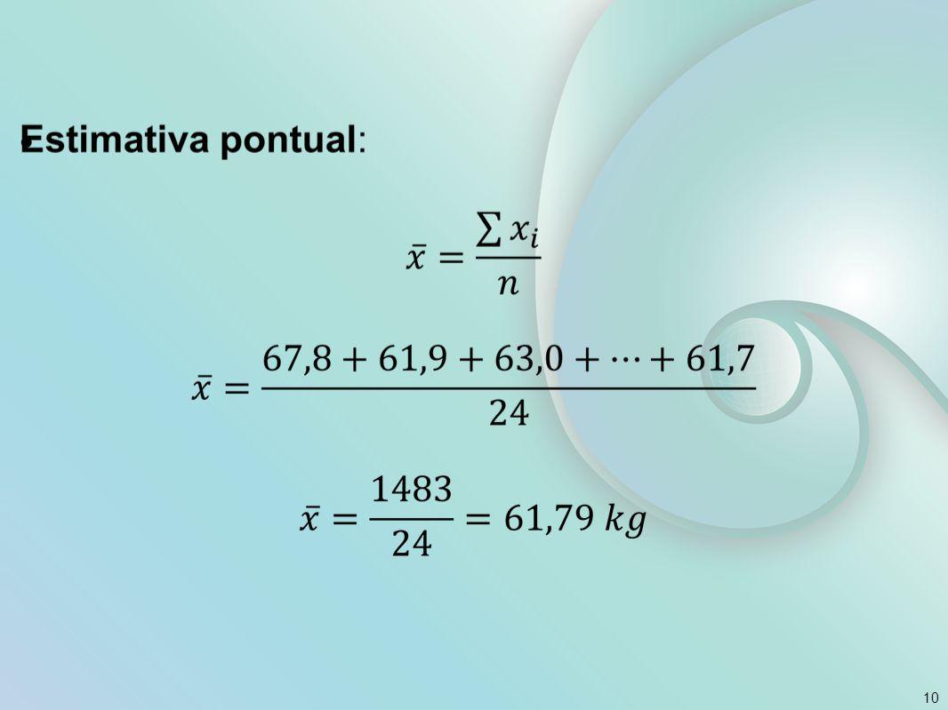 Estimativa intervalar Um estimador pontual produz um único número como estimativa do parâmetro.